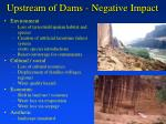 upstream of dams negative impact