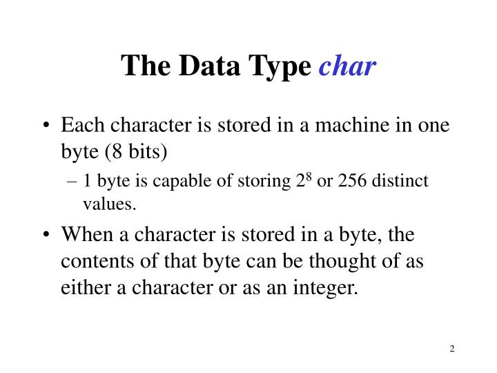 The data type char