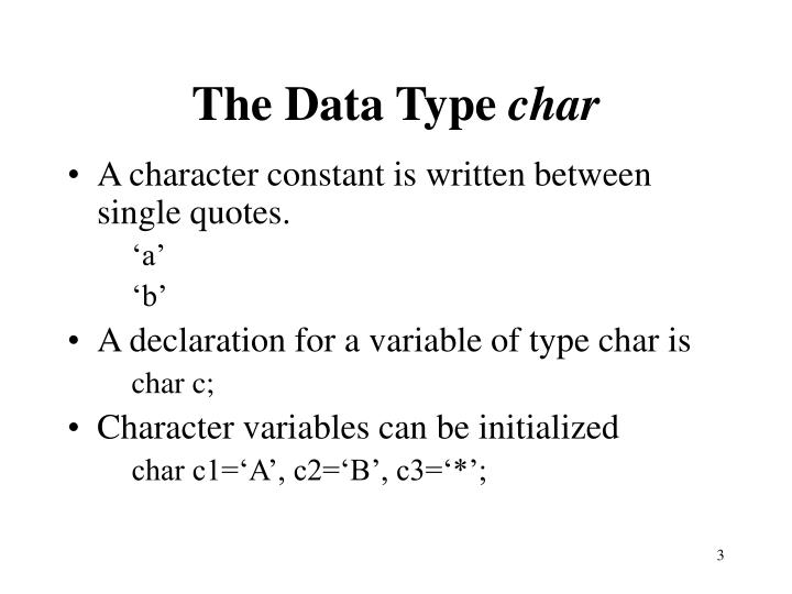 The data type char3