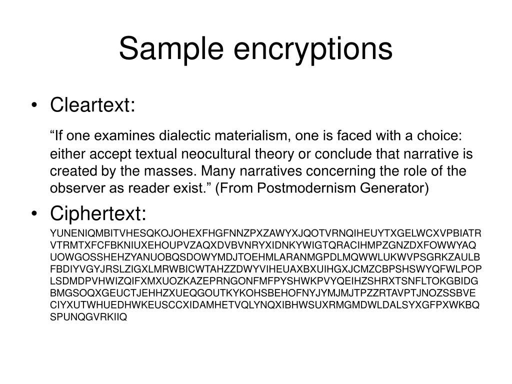 Sample encryptions