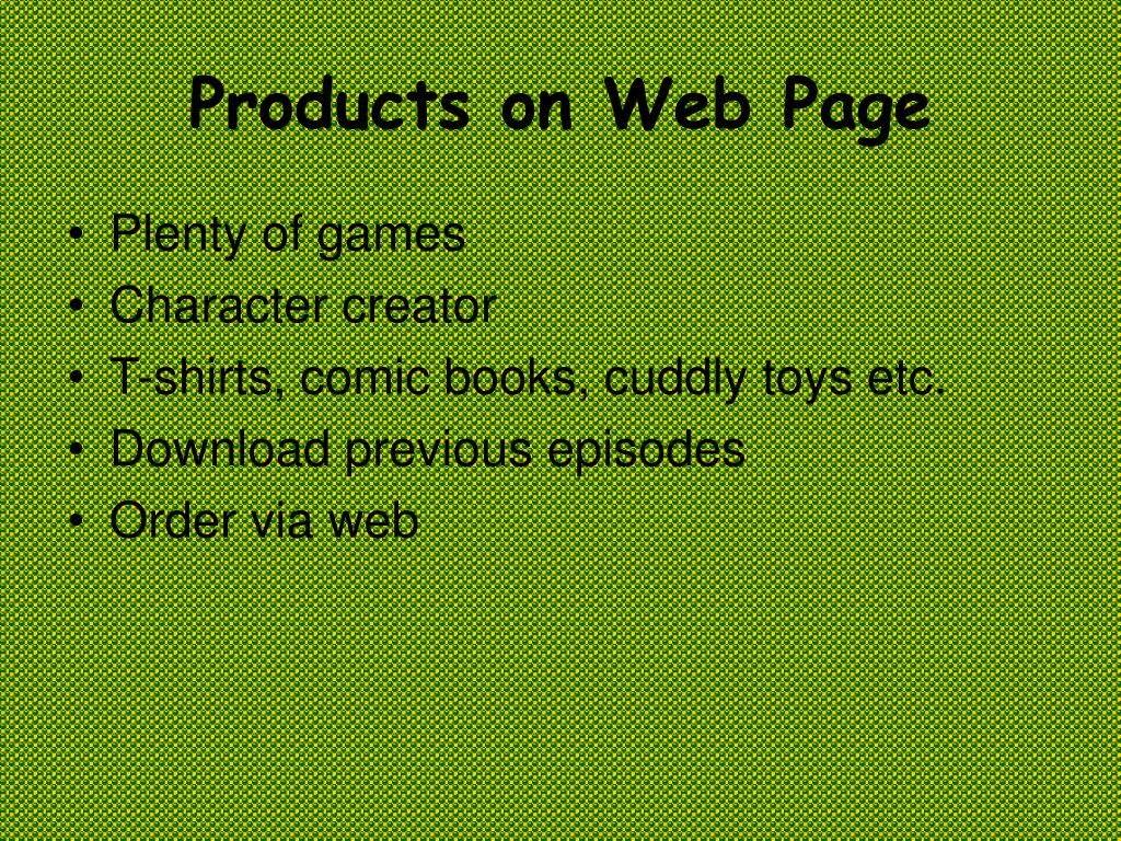 Products on Web Page