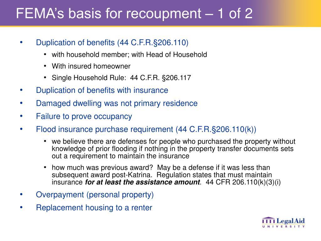 FEMA's basis for recoupment – 1 of 2