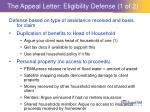 the appeal letter eligibility defense 1 of 2