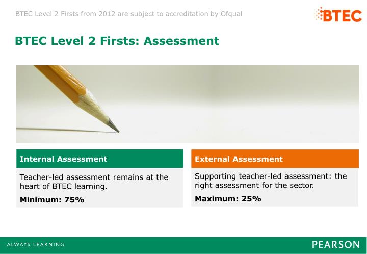 BTEC Level 2 Firsts: Assessment