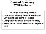 combat summary wwii to korea