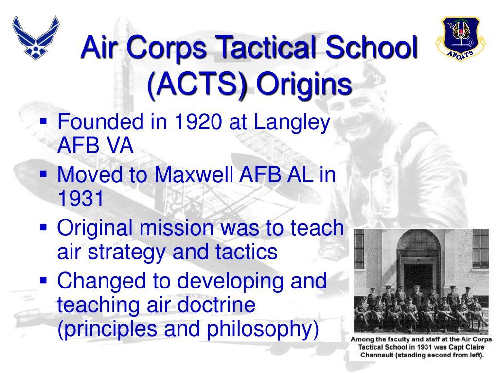 Air Corps Tactical School (ACTS) Origins