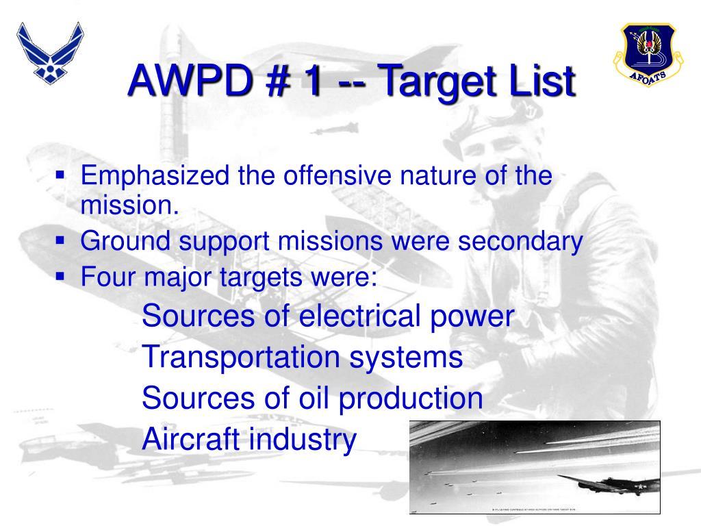 AWPD # 1 -- Target List