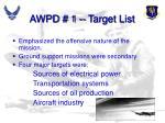 awpd 1 target list