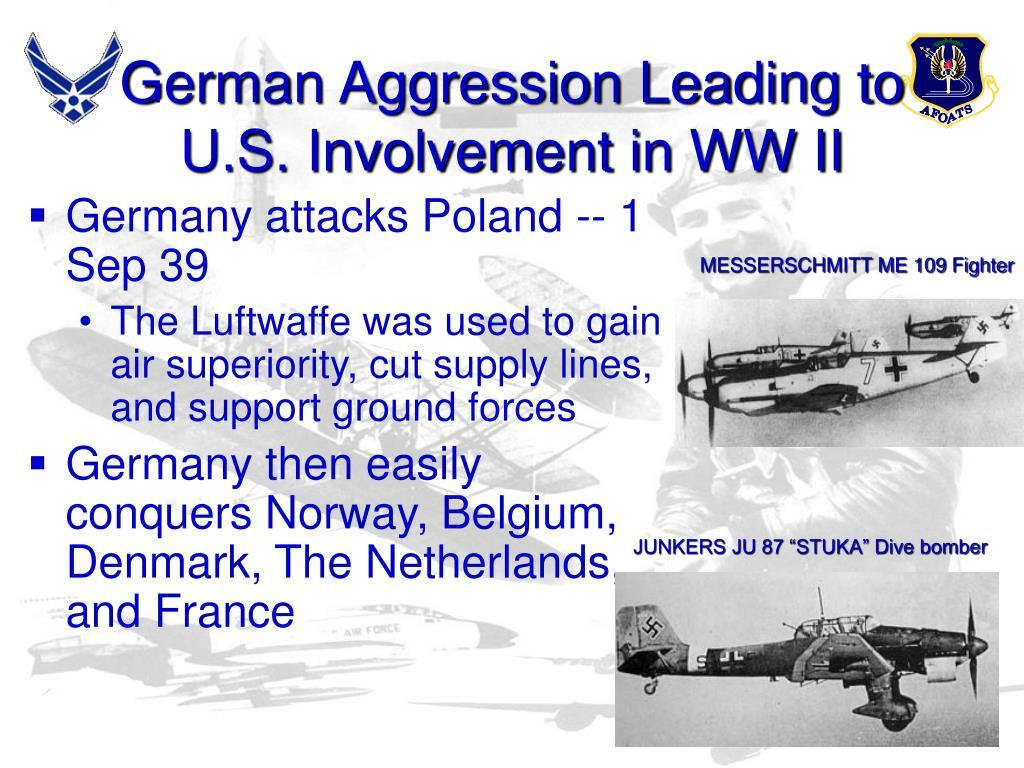 German Aggression Leading to U.S. Involvement in WW II