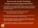 recurrent audit findings improvement opportunities continued