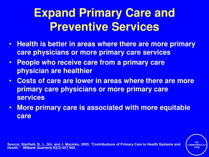 Expand Primary Care and