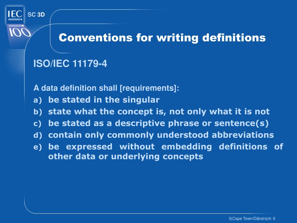 Conventions for writing definitions