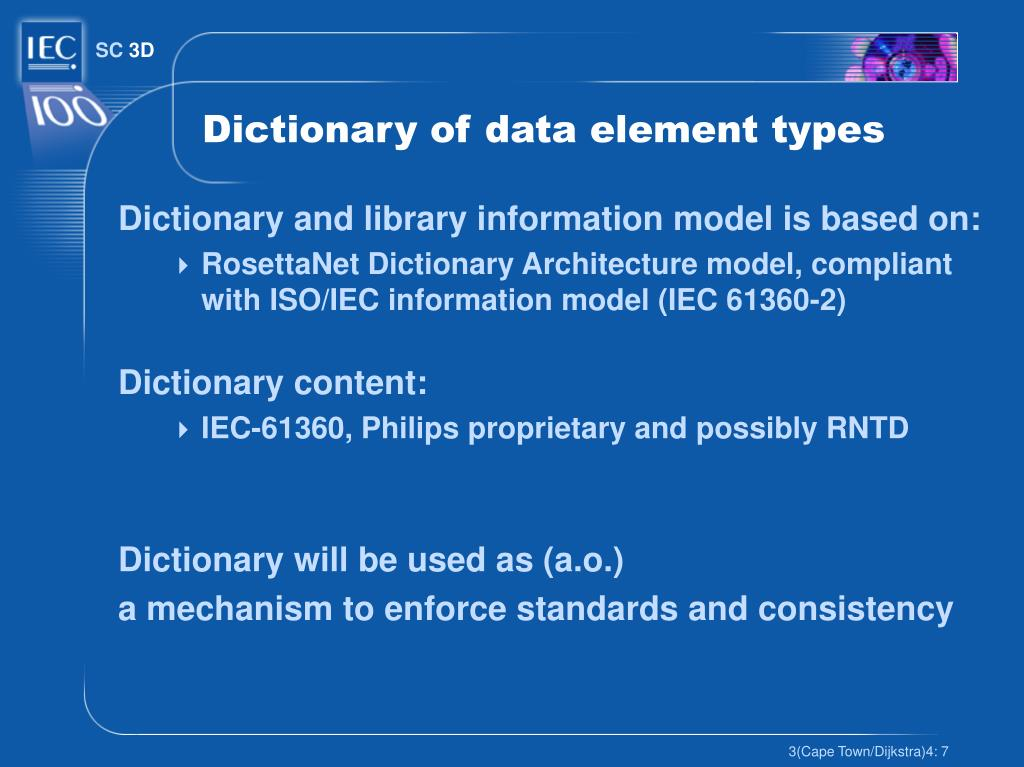 Dictionary of data element types