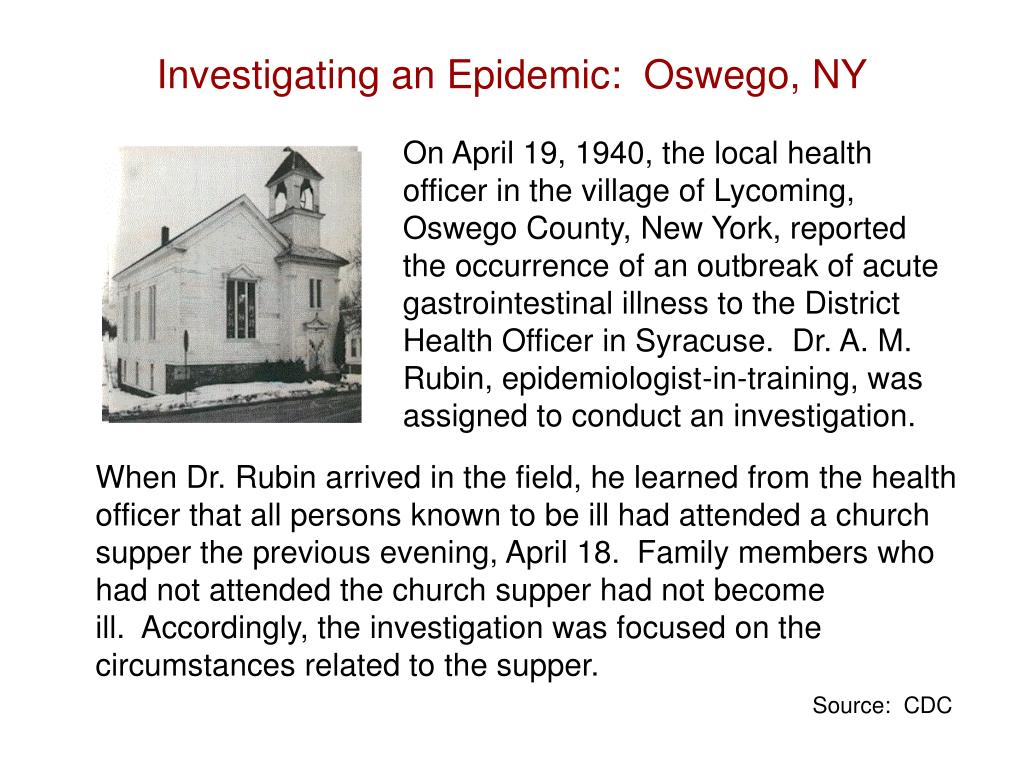 On April 19, 1940, the local health officer in the village of Lycoming, Oswego County, New York, reported the occurrence of an outbreak of acute gastrointestinal illness to the District Health Officer in Syracuse.  Dr. A. M. Rubin, epidemiologist-in-training, was assigned to conduct an investigation.