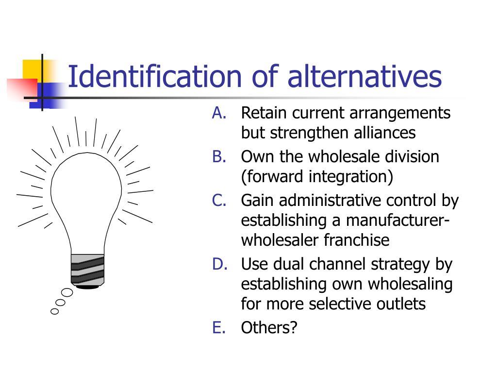 Identification of alternatives