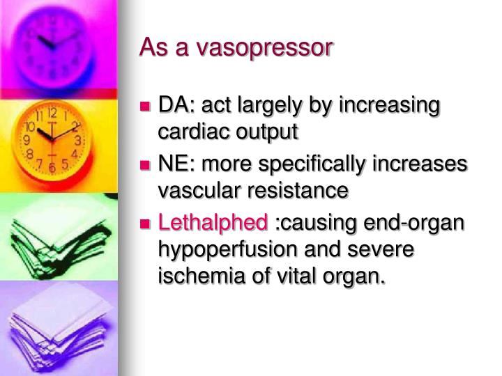 As a vasopressor