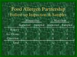 food allergen partnership follow up inspection samples