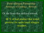 food allergen partnership summary of findings rework
