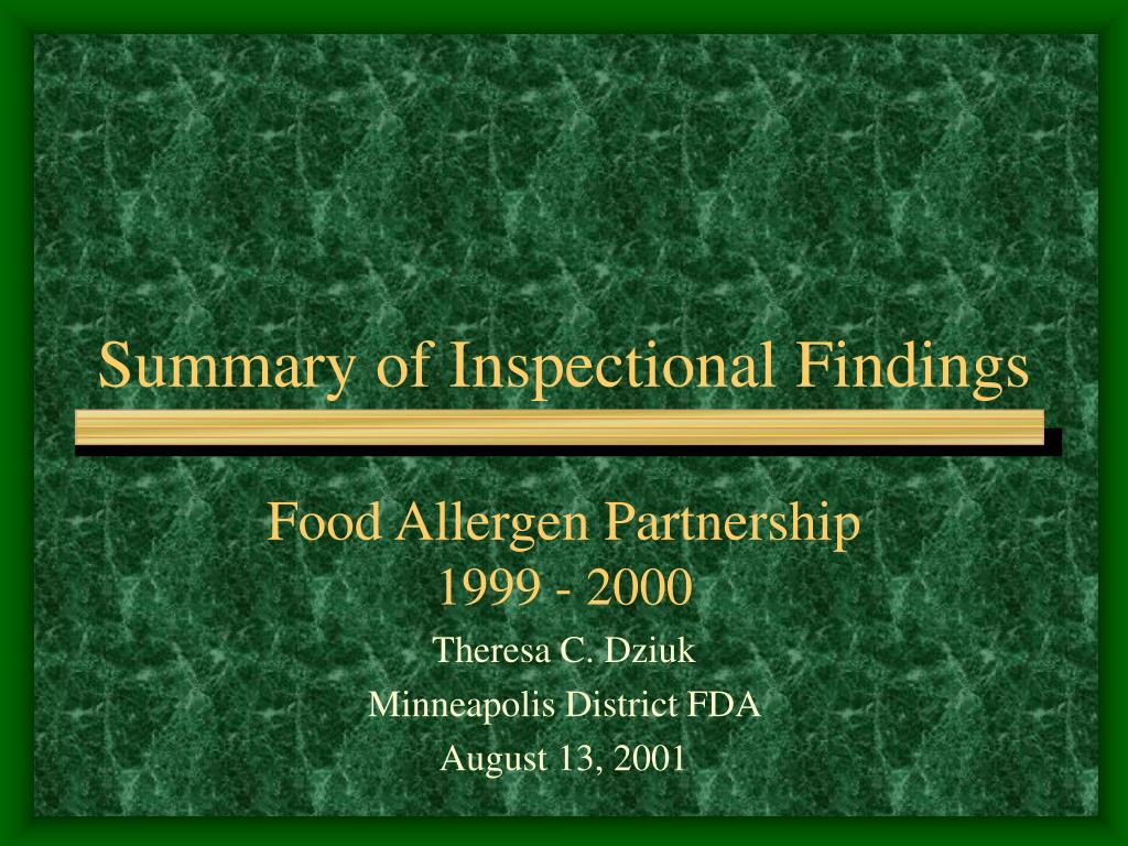 summary of inspectional findings l.