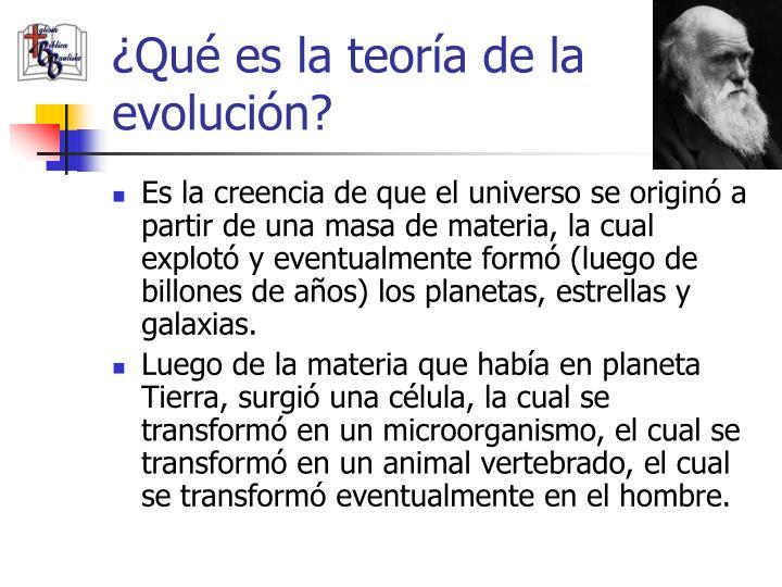 ¿Qué es la teoría de la evolución?
