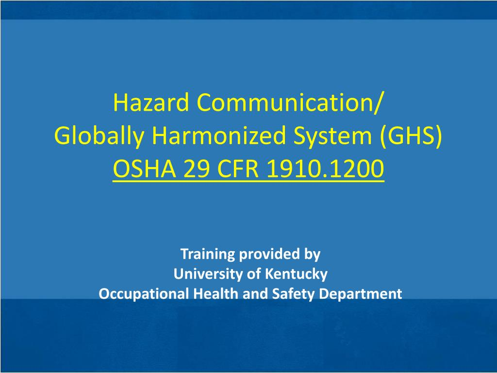 ppt - hazard communication/ globally harmonized system (ghs) osha 29