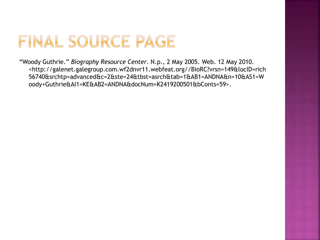 Final Source Page