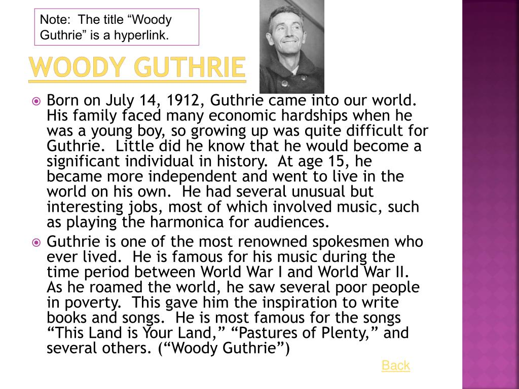 """Note:  The title """"Woody Guthrie"""" is a hyperlink."""