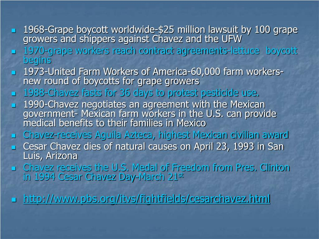 1968-Grape boycott worldwide-$25 million lawsuit by 100 grape growers and shippers against Chavez and the UFW