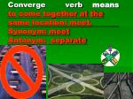converge verb means to come together at the same location meet synonym meet antonym separate