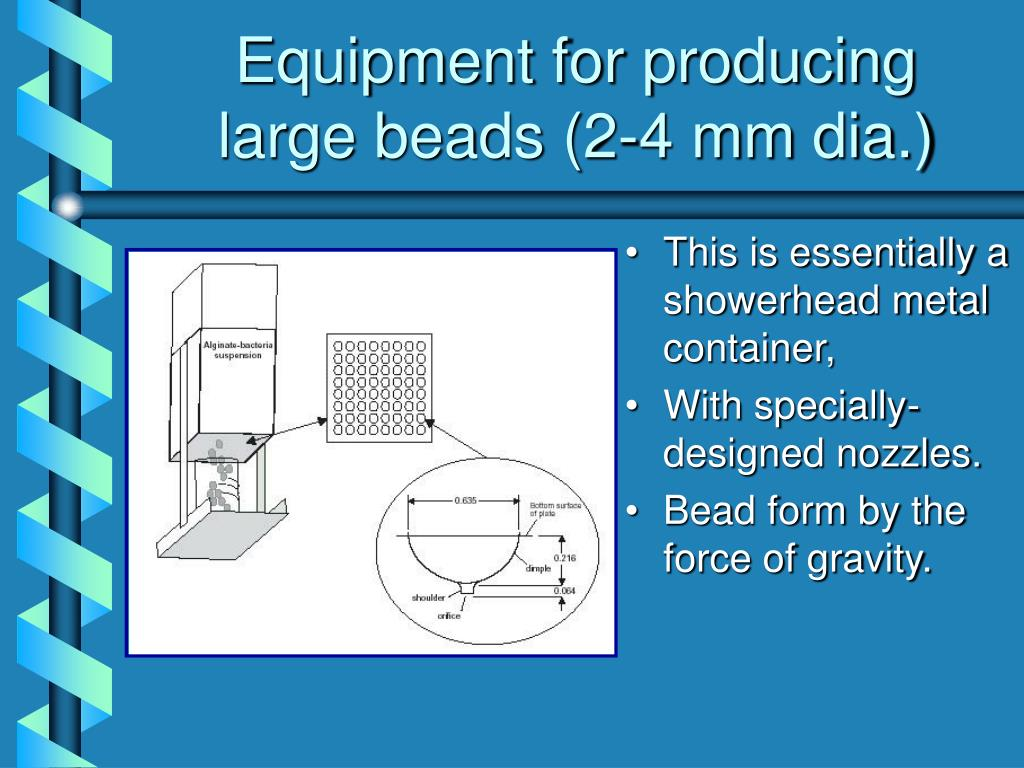 Equipment for producing large beads (2-4 mm dia.)