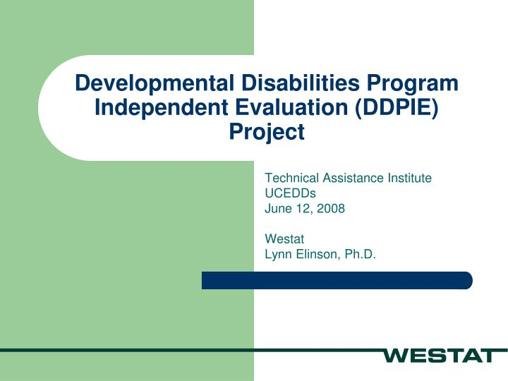 developmental disabilities program independent evaluation ddpie project n.