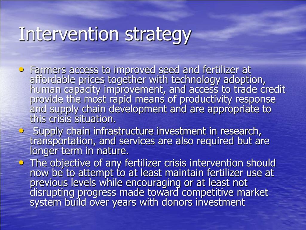 Intervention strategy
