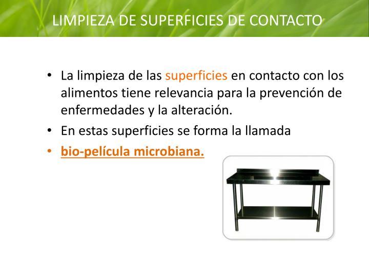 LIMPIEZA DE SUPERFICIES DE CONTACTO