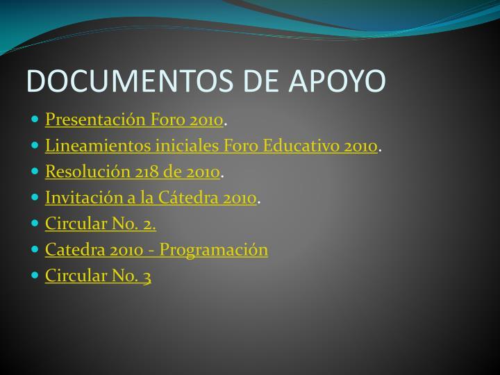 DOCUMENTOS DE APOYO