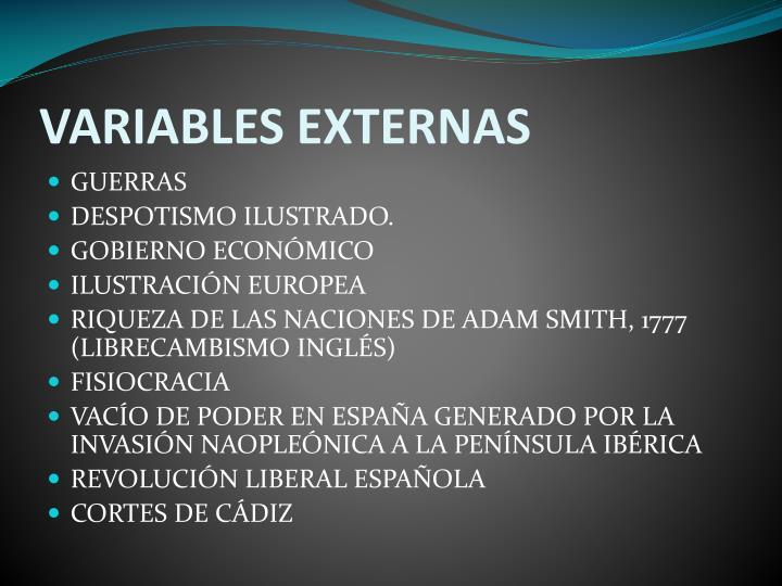 VARIABLES EXTERNAS