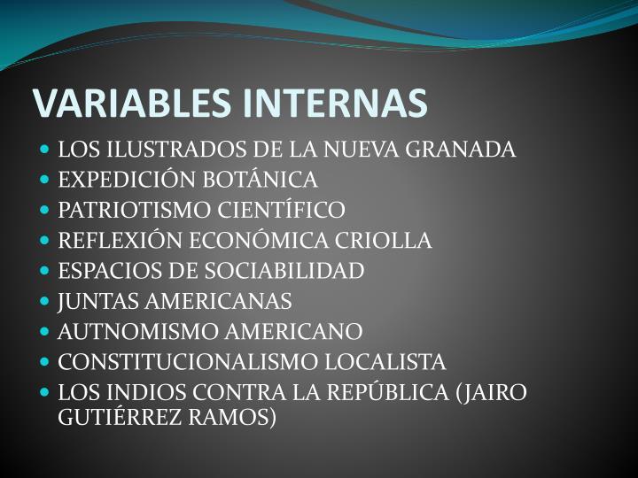VARIABLES INTERNAS