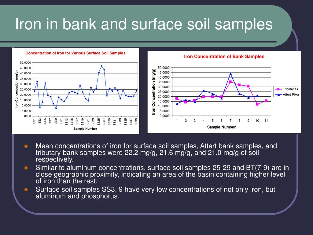 Iron in bank and surface soil samples