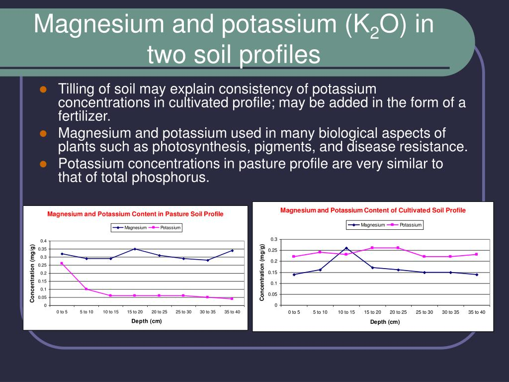 Magnesium and potassium (K
