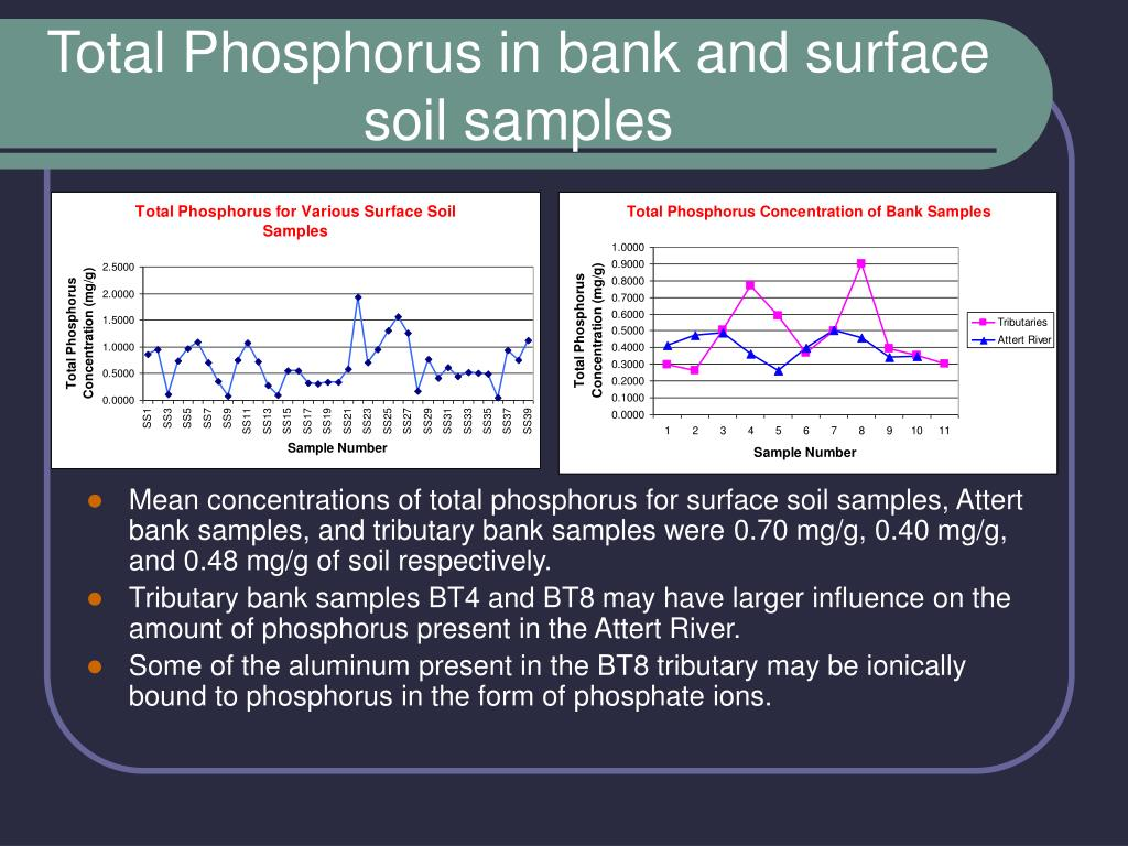 Total Phosphorus in bank and surface soil samples
