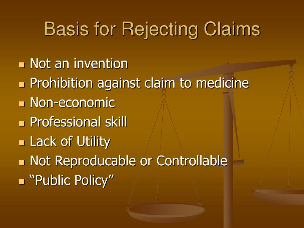 Basis for Rejecting Claims