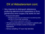 dx of aldosteronism cont