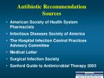 antibiotic recommendation sources