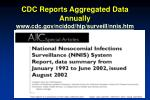 cdc reports aggregated data annually www cdc gov ncidod hip surveill nnis htm