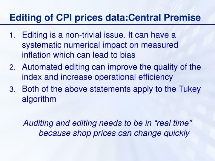 Editing of cpi prices data central premise
