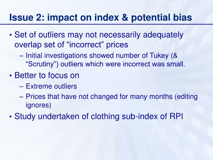 Issue 2: impact on index & potential bias