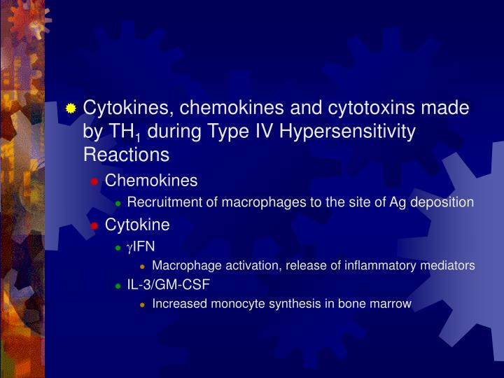 Cytokines, chemokines and cytotoxins made by TH