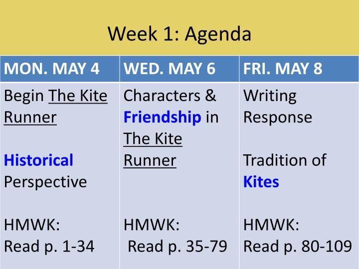 Week 1: Agenda