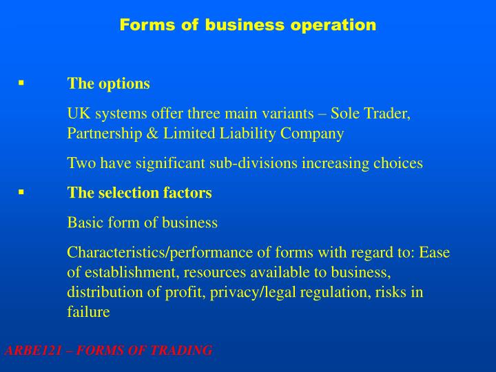 Forms of business operation