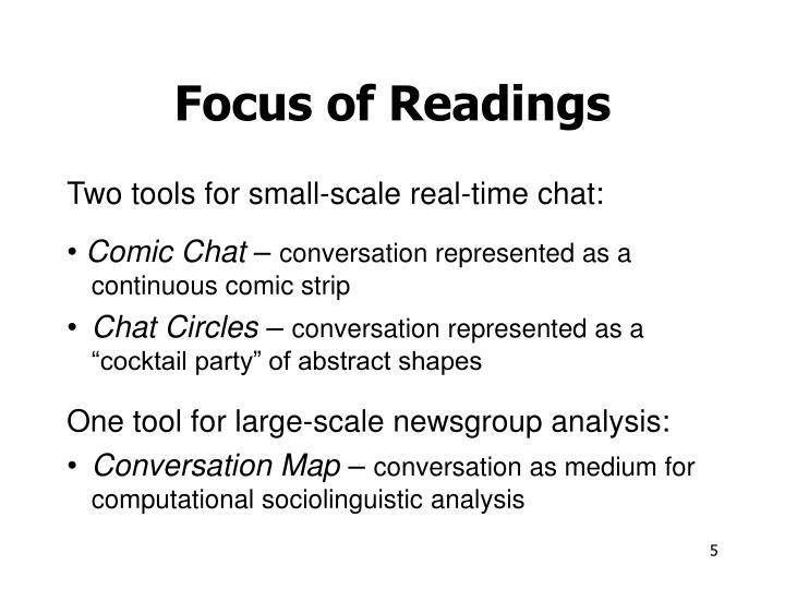 Focus of Readings