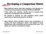 developing a comparison metric1